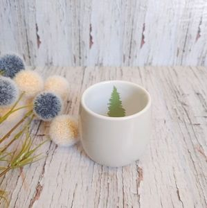 DAVIDS TEA | White Bubble Cup with Green Tree